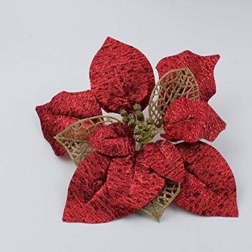 Demarkt 10 Glitzer Weihnachtsstern Weihnachtsbaum Ornament Künstliche Blumen Hochzeit Weihnachten Xmas Tree Kränzen Decor Ornament - 3
