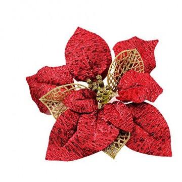 Demarkt 10 Glitzer Weihnachtsstern Weihnachtsbaum Ornament Künstliche Blumen Hochzeit Weihnachten Xmas Tree Kränzen Decor Ornament - 5