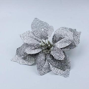 Demarkt 10 Glitzer Weihnachtsstern Weihnachtsbaum Ornament Künstliche Blumen Hochzeit Weihnachten Xmas Tree Kränzen Decor Ornament - 7