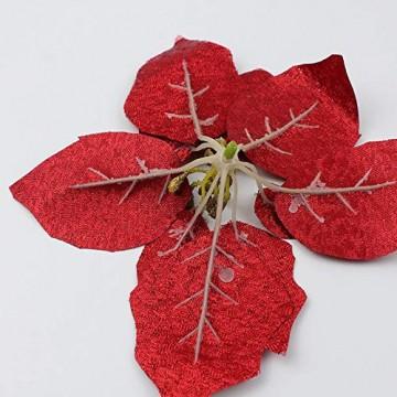 Demarkt 10 Glitzer Weihnachtsstern Weihnachtsbaum Ornament Künstliche Blumen Hochzeit Weihnachten Xmas Tree Kränzen Decor Ornament - 9