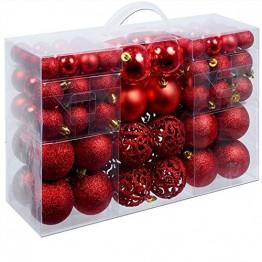 Deuba Weihnachtskugeln Rot 100 Christbaumschmuck Aufhänger Christbaumkugeln für den Weihnachtsbaum Weihnachtsbaumschmuck Weihnachtsbaumkugeln - 1