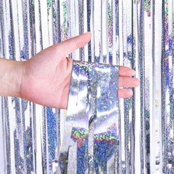 Disino 2 STK Silber Folie Fransen Vorhang, 1 x 2 m Laser Metallic Tinsel Vorhänge Hintergrund Lametta Vorhänge, Glitzer Fringe Schimmer Vorhang für Hochzeit Geburtstag Party Tür Fenster Dekorationen - 4