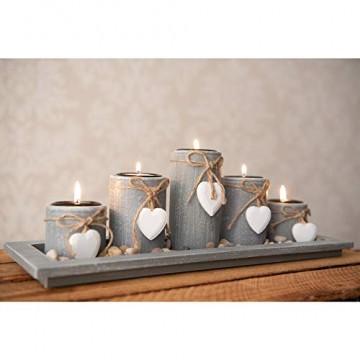 dszapaci Teelichthalter-Set auf Holz-Tablett Weihnachten Tischdekoration Weihnachtsdekoration innen Tischdeko Landhausstil Wohnzimmer-Tisch (Nr.1) - 2