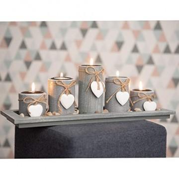 dszapaci Teelichthalter-Set auf Holz-Tablett Weihnachten Tischdekoration Weihnachtsdekoration innen Tischdeko Landhausstil Wohnzimmer-Tisch (Nr.1) - 3