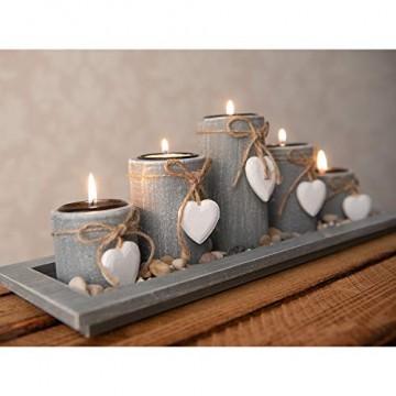 dszapaci Teelichthalter-Set auf Holz-Tablett Weihnachten Tischdekoration Weihnachtsdekoration innen Tischdeko Landhausstil Wohnzimmer-Tisch (Nr.1) - 4