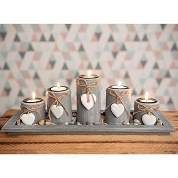 dszapaci Teelichthalter-Set auf Holz-Tablett Weihnachten Tischdekoration Weihnachtsdekoration innen Tischdeko Landhausstil Wohnzimmer-Tisch (Nr.1) - 1