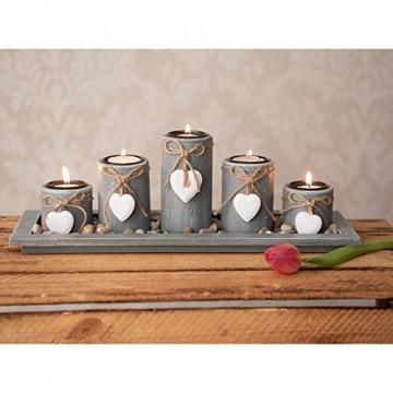 dszapaci Teelichthalter-Set auf Holz-Tablett Weihnachten Tischdekoration Weihnachtsdekoration innen Tischdeko Landhausstil Wohnzimmer-Tisch (Nr.1) - 5