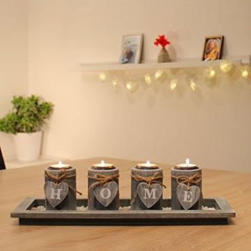 dszapaci Teelichthalter-Set Holz Tablett Landhaus Tischdekoration Windlicht Weihnachtsdekoration innen - 2