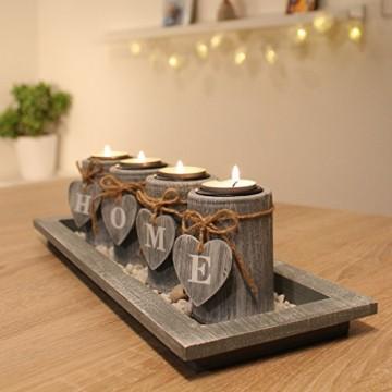 dszapaci Teelichthalter-Set Holz Tablett Landhaus Tischdekoration Windlicht Weihnachtsdekoration innen - 1