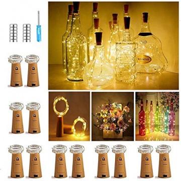 【12 Stück】Nasharia 20 LEDs 2M Flaschen Licht Warmweiß, Lichterkette für Flasche LED Lichterketten Stimmungslichter Weinflasche Kupferdraht, batteriebetriebene für Flasche DIY, Dekor,Weihnachten - 1