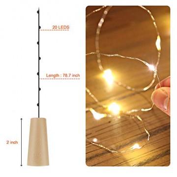 【12 Stück】Nasharia 20 LEDs 2M Flaschen Licht Warmweiß, Lichterkette für Flasche LED Lichterketten Stimmungslichter Weinflasche Kupferdraht, batteriebetriebene für Flasche DIY, Dekor,Weihnachten - 6