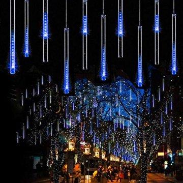 EEIEER 192 mini LED Eiszapfen Lichterkette sternschnuppe Licht für Außen balkon Garten Weihnachten Dekoration 8 StückTube 30 cm Blau - 2