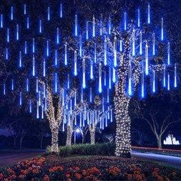 EEIEER 192 mini LED Eiszapfen Lichterkette sternschnuppe Licht für Außen balkon Garten Weihnachten Dekoration 8 StückTube 30 cm Blau - 1