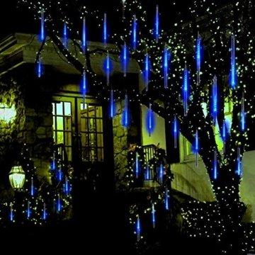 EEIEER 192 mini LED Eiszapfen Lichterkette sternschnuppe Licht für Außen balkon Garten Weihnachten Dekoration 8 StückTube 30 cm Blau - 4