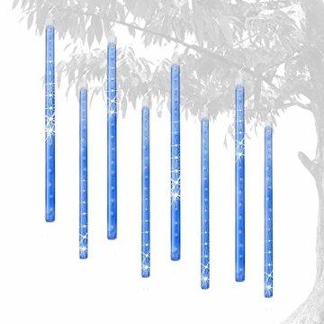 EEIEER 192 mini LED Eiszapfen Lichterkette sternschnuppe Licht für Außen balkon Garten Weihnachten Dekoration 8 StückTube 30 cm Blau - 5