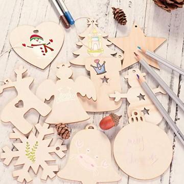 EKKONG 100 Stück Holz Christbaumschmuck, Weihnachtsbaum Deko,Weihnachtsanhänger,Weihnachtsbaumschmuck,Weihnachtsanhänger Deko, Christbaumschmuck Handwerkliche Verzierungen für Weihnachten - 4