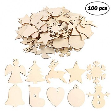 EKKONG 100 Stück Holz Christbaumschmuck, Weihnachtsbaum Deko,Weihnachtsanhänger,Weihnachtsbaumschmuck,Weihnachtsanhänger Deko, Christbaumschmuck Handwerkliche Verzierungen für Weihnachten - 1