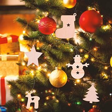 EKKONG 100 Stück Holz Christbaumschmuck, Weihnachtsbaum Deko,Weihnachtsanhänger,Weihnachtsbaumschmuck,Weihnachtsanhänger Deko, Christbaumschmuck Handwerkliche Verzierungen für Weihnachten - 5
