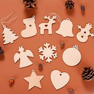 EKKONG 100 Stück Holz Christbaumschmuck, Weihnachtsbaum Deko,Weihnachtsanhänger,Weihnachtsbaumschmuck,Weihnachtsanhänger Deko, Christbaumschmuck Handwerkliche Verzierungen für Weihnachten - 6