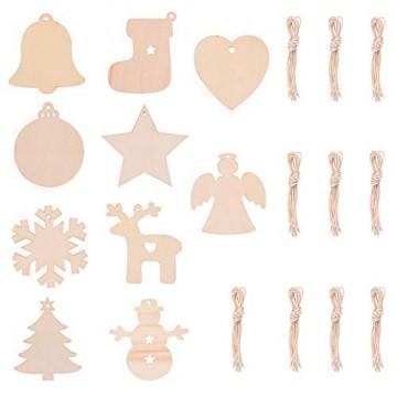 EKKONG 100 Stück Holz Christbaumschmuck, Weihnachtsbaum Deko,Weihnachtsanhänger,Weihnachtsbaumschmuck,Weihnachtsanhänger Deko, Christbaumschmuck Handwerkliche Verzierungen für Weihnachten - 8