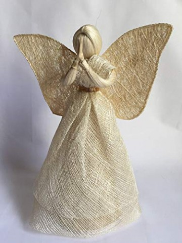 Engel Natur, mit goldfarbigem Gürtelband, H = 30 cm - 1