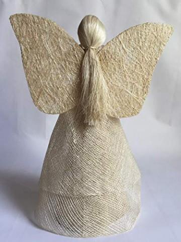 Engel Natur, mit goldfarbigem Gürtelband, H = 30 cm - 2