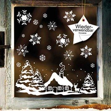 Fensterbild Weihnachten Fenstersticker Häuschen mit REH und Winterlandschaft WIEDERVERWENDBAR - 1