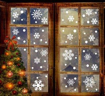 Fensterbilder Weihnachten, 228 Schneeflocken Fenstersticker, Weihnachtsdeko Fenster,Fensteraufkleber PVC Fensterdeko Selbstklebend, für Türen Schaufenster Vitrinen Glasfronten Deko - 4