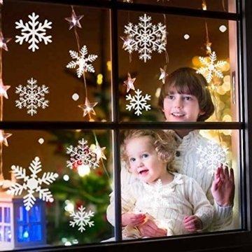 Fensterbilder Weihnachten, 228 Schneeflocken Fenstersticker, Weihnachtsdeko Fenster,Fensteraufkleber PVC Fensterdeko Selbstklebend, für Türen Schaufenster Vitrinen Glasfronten Deko - 6