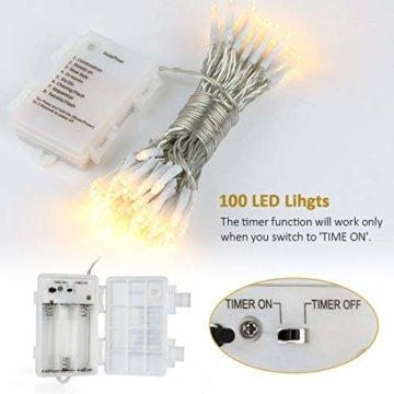 [Fernbedienung und Timer] 100er LED Outdoor Lichterkette Batterienbetrieben Warmweiß (8 Modi, IP65 Wasserdicht, Außenbeleuchtung) - 2