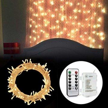 [Fernbedienung und Timer] 100er LED Outdoor Lichterkette Batterienbetrieben Warmweiß (8 Modi, IP65 Wasserdicht, Außenbeleuchtung) - 8