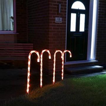 Festive Lights - 4er Set – beleuchtete Zuckerstangen Dekoration – 40 LEDs – strombetrieben - für Außen & Innen - 2