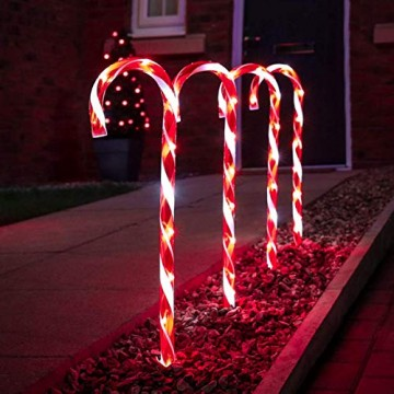 Festive Lights - 4er Set – beleuchtete Zuckerstangen Dekoration – 40 LEDs – strombetrieben - für Außen & Innen - 3