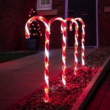Festive Lights - 4er Set – beleuchtete Zuckerstangen Dekoration – 40 LEDs – strombetrieben - für Außen & Innen - 1