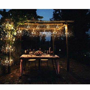 Feuerwerk LED Licht, Lukasa 2 Stück 120 LEDs Lichterkette mit 8 Modi Beleuchtungs effekt wasserdicht Kupferdraht Lichter für Garten Terrasse Hochzeit Party Weihnachten - 3