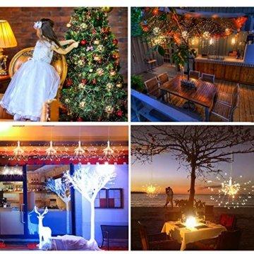 Feuerwerk LED Licht, Lukasa 2 Stück 120 LEDs Lichterkette mit 8 Modi Beleuchtungs effekt wasserdicht Kupferdraht Lichter für Garten Terrasse Hochzeit Party Weihnachten - 4