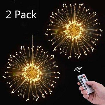 Feuerwerk LED Licht, Lukasa 2 Stück 120 LEDs Lichterkette mit 8 Modi Beleuchtungs effekt wasserdicht Kupferdraht Lichter für Garten Terrasse Hochzeit Party Weihnachten - 1