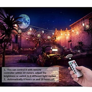 Feuerwerk LED Licht, Lukasa 2 Stück 120 LEDs Lichterkette mit 8 Modi Beleuchtungs effekt wasserdicht Kupferdraht Lichter für Garten Terrasse Hochzeit Party Weihnachten - 5