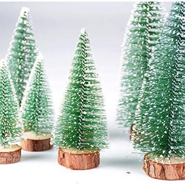 FLOFIA 8 TLG. 3 Größe Mini Weihnachtsbaum Künstlich Miniatur Tannenbaum Grün Mini Christbaum Tree Klein Weihnachtsdeko Figuren 10/15 / 20 cm - 2