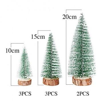 FLOFIA 8 TLG. 3 Größe Mini Weihnachtsbaum Künstlich Miniatur Tannenbaum Grün Mini Christbaum Tree Klein Weihnachtsdeko Figuren 10/15 / 20 cm - 3