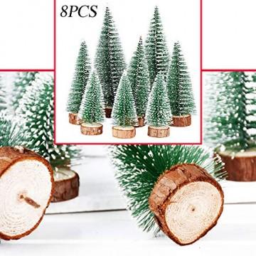FLOFIA 8 TLG. 3 Größe Mini Weihnachtsbaum Künstlich Miniatur Tannenbaum Grün Mini Christbaum Tree Klein Weihnachtsdeko Figuren 10/15 / 20 cm - 4