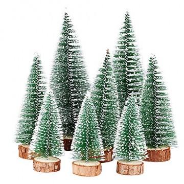 FLOFIA 8 TLG. 3 Größe Mini Weihnachtsbaum Künstlich Miniatur Tannenbaum Grün Mini Christbaum Tree Klein Weihnachtsdeko Figuren 10/15 / 20 cm - 1