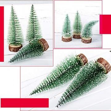 FLOFIA 8 TLG. 3 Größe Mini Weihnachtsbaum Künstlich Miniatur Tannenbaum Grün Mini Christbaum Tree Klein Weihnachtsdeko Figuren 10/15 / 20 cm - 7