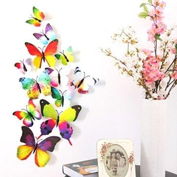 Foonii® 72 PCS 3D Schmetterlinge Wanddeko Aufkleber Abziehbilder,schlagfestem Kunststoff Schmetterling Dekorationen, Wand-Dekor (12 Blau, 12 Farbe, 12 Grün, 12 Gelb, 12 Rosa, 12 Rot) - 2