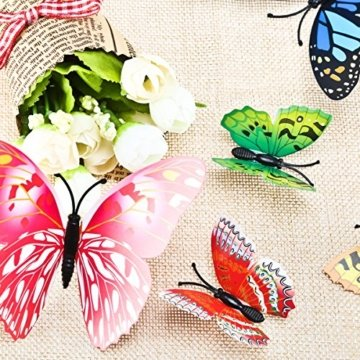 Foonii® 72 PCS 3D Schmetterlinge Wanddeko Aufkleber Abziehbilder,schlagfestem Kunststoff Schmetterling Dekorationen, Wand-Dekor (12 Blau, 12 Farbe, 12 Grün, 12 Gelb, 12 Rosa, 12 Rot) - 3