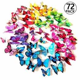 Foonii® 72 PCS 3D Schmetterlinge Wanddeko Aufkleber Abziehbilder,schlagfestem Kunststoff Schmetterling Dekorationen, Wand-Dekor (12 Blau, 12 Farbe, 12 Grün, 12 Gelb, 12 Rosa, 12 Rot) - 1