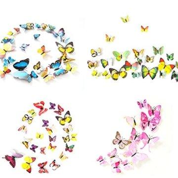 Foonii® 72 PCS 3D Schmetterlinge Wanddeko Aufkleber Abziehbilder,schlagfestem Kunststoff Schmetterling Dekorationen, Wand-Dekor (12 Blau, 12 Farbe, 12 Grün, 12 Gelb, 12 Rosa, 12 Rot) - 4