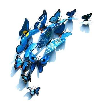 Foonii® 72 PCS 3D Schmetterlinge Wanddeko Aufkleber Abziehbilder,schlagfestem Kunststoff Schmetterling Dekorationen, Wand-Dekor (12 Blau, 12 Farbe, 12 Grün, 12 Gelb, 12 Rosa, 12 Rot) - 5