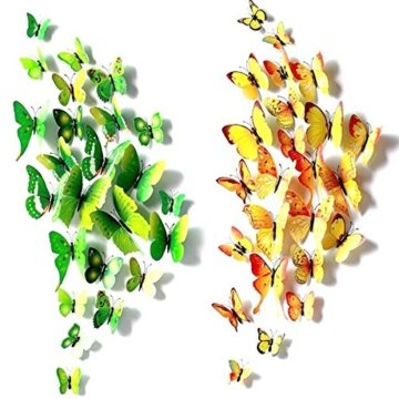 Foonii® 72 PCS 3D Schmetterlinge Wanddeko Aufkleber Abziehbilder,schlagfestem Kunststoff Schmetterling Dekorationen, Wand-Dekor (12 Blau, 12 Farbe, 12 Grün, 12 Gelb, 12 Rosa, 12 Rot) - 6