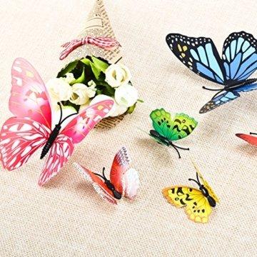 Foonii® 72 PCS 3D Schmetterlinge Wanddeko Aufkleber Abziehbilder,schlagfestem Kunststoff Schmetterling Dekorationen, Wand-Dekor (12 Blau, 12 Farbe, 12 Grün, 12 Gelb, 12 Rosa, 12 Rot) - 7